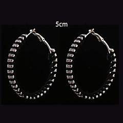 European Fashion  Black   Fabric Two Rows Diamond  Hoop Earrings 5cm Wedding/Party/Daily 2pcs