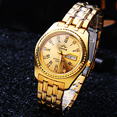 Men's Luxury Business Round Calendar Diamond Rome Number Dial Stainless Steel Strap Fashion Waterproof Quartz Watch