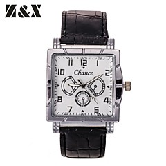 Men's Generous Fashion Square Roma Number Business Quartz Analog Leather Band Wrist Watch(Assorted Colors)