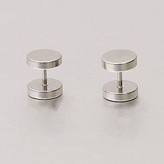 Fashion 8mm Round Symmetry Silver Stainless Steel Stud Earrings(1 Pair)