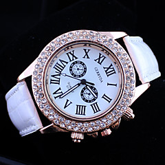 vrouwen diamant pu band quartz horloge