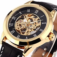 Men's Classic Skeleton Roman Dial  Leather Band Automatic Self Wind Wrist Watch