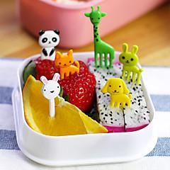 10pcs animal bento în formă de alimente fructe kawaii animale culege furci instrument caseta de prânz accesoriu decor (culoare aleatorii)