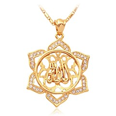 U7® Ilamic Allah Pendant Charm 18K Gold Plated WA Rhinetone Necklace Religiou Mulim Jewelry