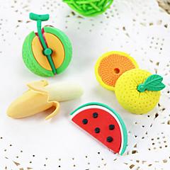 Cartoon Fruit Shaped Banana Tangerine Watermelon Assemble Rubber Eraser (Random Color)