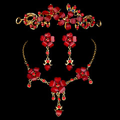 China Style Bride Wedding Accessories Jewelry Set Three Piece Red Crown Pendant Earrings Necklace