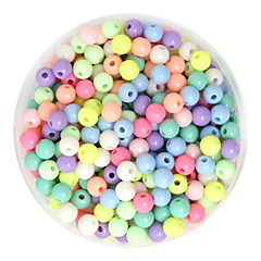 Beadia 100g(Approx 800Pcs)  Fashion 4mm Round Acrylic Beads Mixed Spring Color Plastic Loose Beads DIY Accessories