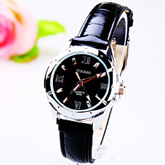 Women's Leisure Business Round Rome Number Dial PC Movement Leather Strap Fashion Life Waterproof Quartz Watch