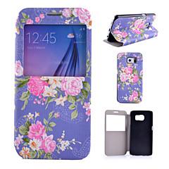 blå blomster mønster pu læder telefon Taske til Samsung Galaxy s4 / S5 / S6 / s4 mini / s5 mini