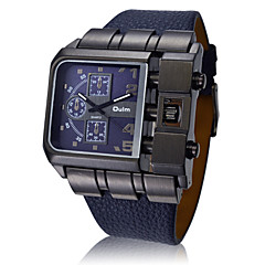 OULM® Men's Fashion Black Case Military Watch Square Dial Leather Strap Cool Watch Unique Watch