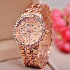 Women's Fashion Geneva Quartz Watch Sparkle Crystal Case Steel Strap