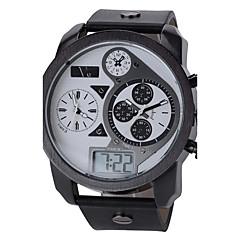 V6 Męskie Zegarek na nadgarstek Kwarcowy Kwarc japoński LCD Kalendarz Trzy strefy czasowe Sportowy Skóra Pasmo Czarny White Black
