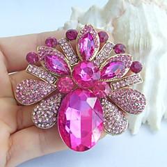 2.56 tommer gold-tone pink rhinestone krystal blomst broche vedhæng kunst dekorationer