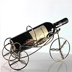 metal fjederbelastet 4 hjul formet vin flaskeholder rack bar opbevaring bordet stå (tilfældig farve)