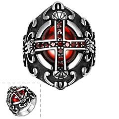 anillo de la manera de los hombres individuales de acero inoxidable cruz circonio cúbico rojo (negro) (1 unidad)