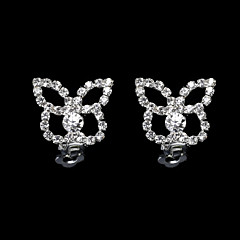 European And American Fashion Full Diamond Butterfly Flower Earrings Fake Clip Earrings Wedding/Party/Daily/Casual 2pcs