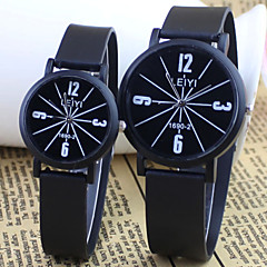Couple's Fashion And  Casual Style Round Dial Black Rubber Band Quartz Wrist Watch