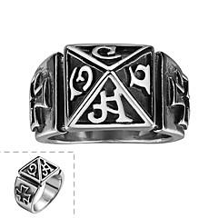 generoso anillo clásica no de los hombres de piedra decorativa cruz carácter romano de acero inoxidable (negro) (1 unidad)
