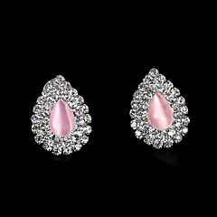 European And American Fashion Pink Peach Heart Full Diamond Earrings Stud Earrings Wedding/Party/Daily/Casual 2pcs