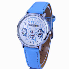 Kinder Doraemon Muster PU-Band niedlichen Cartoon-analoge Armbanduhr