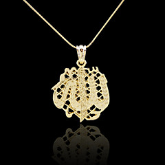18K Real Gold Plated Allah Muslim Islamic Pendant 3.3*4.6CM