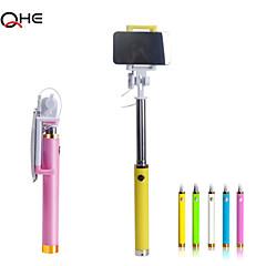 coloré selfie monopode de câble connecté pour iPhone6, extendale poche selfie bâton avec grand miroir