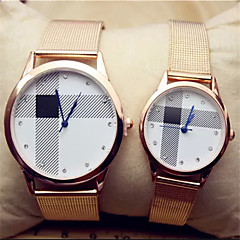 Couple's  Gold Alloy Quartz Analog Wrist Watches