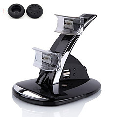 NEW LED Dual Controller Charger Dock Station Stand Charging for Playstation PS3(Send A Pair Thumb Stick Grips Cap)