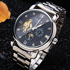 Men's Round Rome Number Diamond Dial Mineral Glass Mirror Stainless Steel Band Fashion Mechanical Waterproof Watch Wrist Watch Cool Watch Unique Watch
