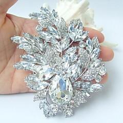 smukke 4.33 tommer sølv-tone klar rhinestone krystal blomst broche bryllup deco brudebuket