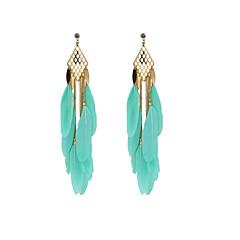 Fashion Women Multi Lay Feather Drop Earrings