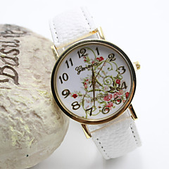 Damenmode Stil Goldvorwahlknopf PU-Band-Quarz-analoge Armbanduhr (farbig sortiert)