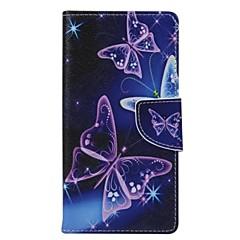 Para Samsung Galaxy Capinhas Porta-Cartão / Carteira / Com Suporte / Flip Capinha Corpo Inteiro Capinha Borboleta Couro PU Samsung S5