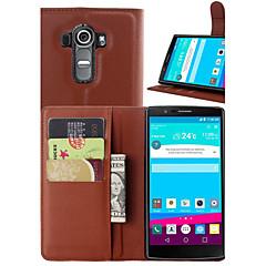 For LG etui Kortholder Pung Med stativ Flip Etui Heldækkende Etui Helfarve Hårdt Kunstlæder for LGLG G4 LG G3 LG G3 Beat / G3 Mini LG L90