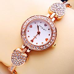 Women's New Luxury Trend Round Heart Scale Diamond Dial Diamond Heart Shape Strap Fashion Quartz Bracelet Watch