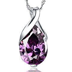 Woman Amethyst Drop Silver Necklace