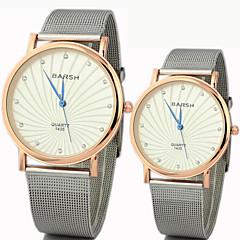 paar round lichtmetalen wijzerplaat band lovers 'quartz analoog horloge