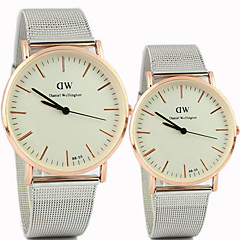 Couple's Round Dial Alloy Band Lovers' Quartz Analog Wrist Watch