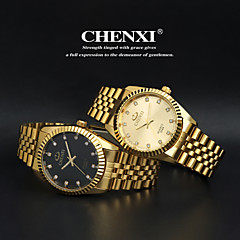 CHENXI Golden Fashion Men Watch Stainless Steel Quartz Wrist Watch Cool Watch Unique Watch