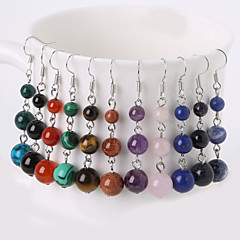 Beadia 1 Pair Fashion Drop Earrings 6/8/10mm Natural Stone Dangle Earrings For Women 5 Colors