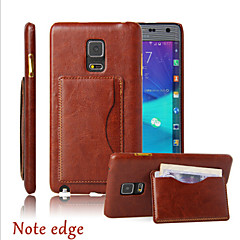 For Samsung Galaxy Note Card Holder / Wallet / with Stand / Flip Case Back Cover Case Solid Color PU Leather Samsung Note Edge