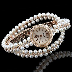 Femme Montre Tendance Bracelet de Montre Unique Creative Montre Quartz Imitation de diamant Alliage Bande Etincelant Perles Doré Marque