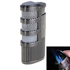 matériau métallique de haute qualité coupe-vent flamme bleue gonflable triple flamme du briquet (couleurs assorties)