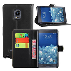 For Samsung Galaxy Note Card Holder / Wallet / with Stand / Flip Case Full Body Case Solid Color PU Leather Samsung Note Edge