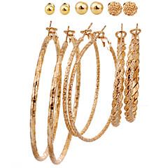 European Style Fashion Glaze Ballpoint Circle Alloy Earrings(6 Pairs A Set)