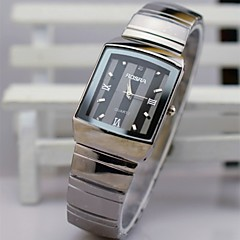 L.WEST Men's Steel Belt Analog The Diamonds Square Quartz Watch Wrist Watch Cool Watch Unique Watch