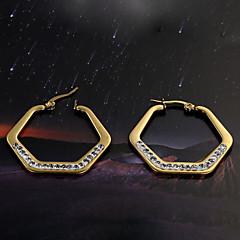 European  fashion Hexagon titanium steel diamond  gold  Hoop Earrings Wedding / Party / Daily / Casual 2pcs