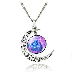 kvinnors galax stjärnan månen tids ädelsten hängsmycke halsband