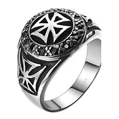 Cross AAA Zircon Exaggerated Personality Rock Titanium Steel Stainless Steel Men's Ring