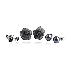 Korean Fashion Drill Pearl Rose Alloy Earrings (3 Pairs A Set)